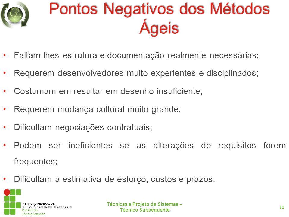 INSTITUTO FEDERAL DE EDUCAÇÃO, CIÊNCIA E TECNOLOGIA TOCANTINS Campus Araguaína Pontos Negativos dos Métodos Ágeis Faltam-lhes estrutura e documentação