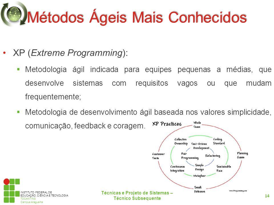 INSTITUTO FEDERAL DE EDUCAÇÃO, CIÊNCIA E TECNOLOGIA TOCANTINS Campus Araguaína Métodos Ágeis Mais Conhecidos XP (Extreme Programming): Metodologia ági