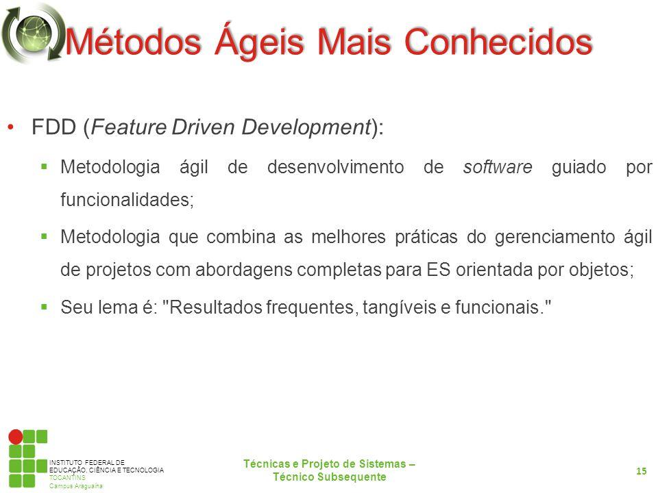 INSTITUTO FEDERAL DE EDUCAÇÃO, CIÊNCIA E TECNOLOGIA TOCANTINS Campus Araguaína Métodos Ágeis Mais Conhecidos FDD (Feature Driven Development): Metodol