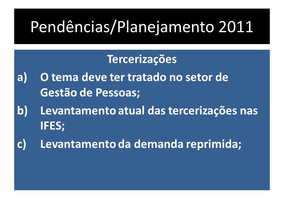 Pendências/Planejamento 2011 Tercerizações a)O tema deve ter tratado no setor de Gestão de Pessoas; b)Levantamento atual das tercerizações nas IFES; c)Levantamento da demanda reprimida;