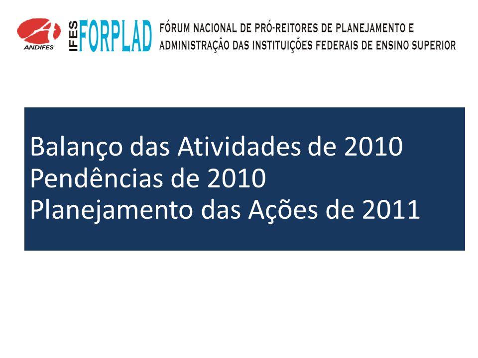 Balanço das Atividades de 2010 Pendências de 2010 Planejamento das Ações de 2011