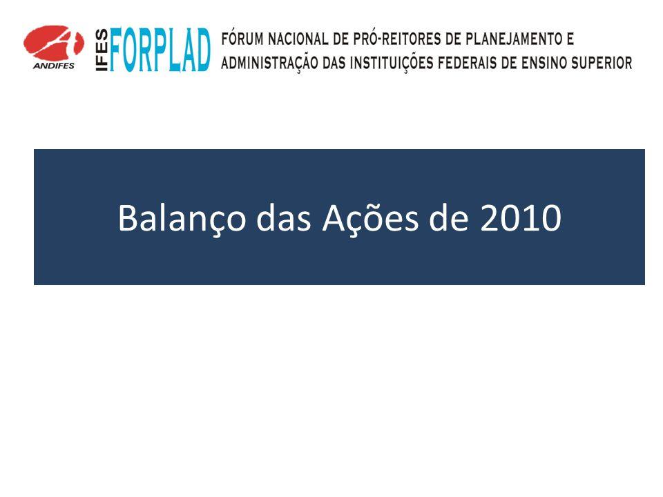Pendências/Planejamento 2011 Eficência do Gasto a)Ação política nos Estados para que haja redução de ICMS para as IFES/HU.