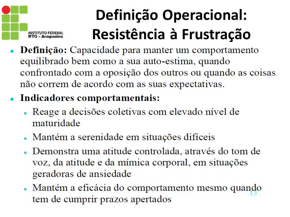 Definição Operacional: Resistência à Frustração