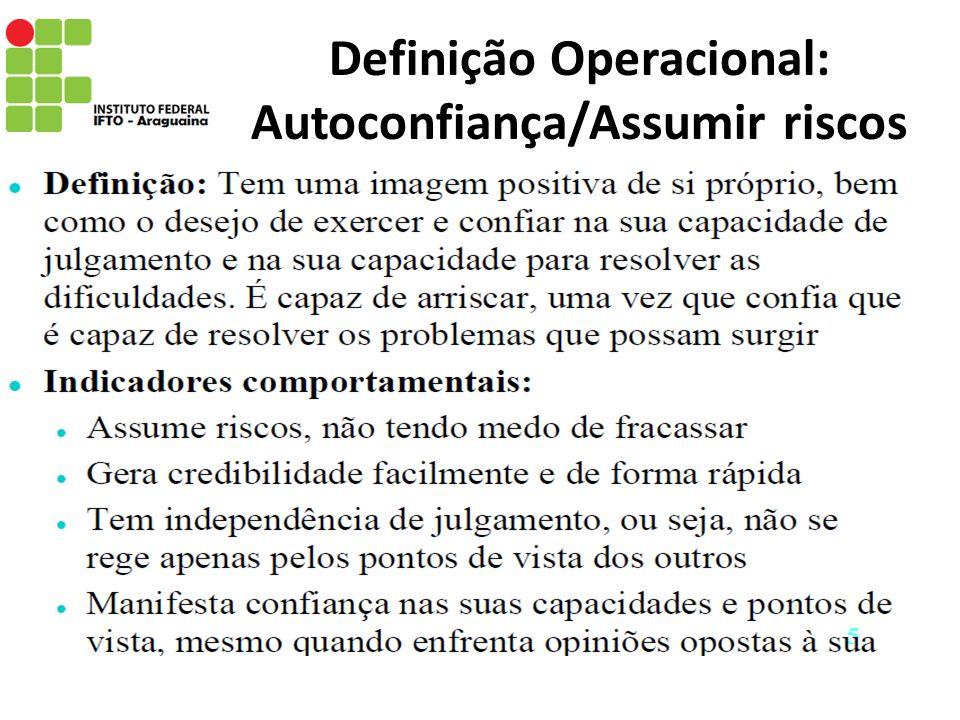Definição Operacional: Autoconfiança/Assumir riscos