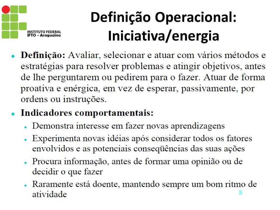 Definição Operacional: Iniciativa/energia