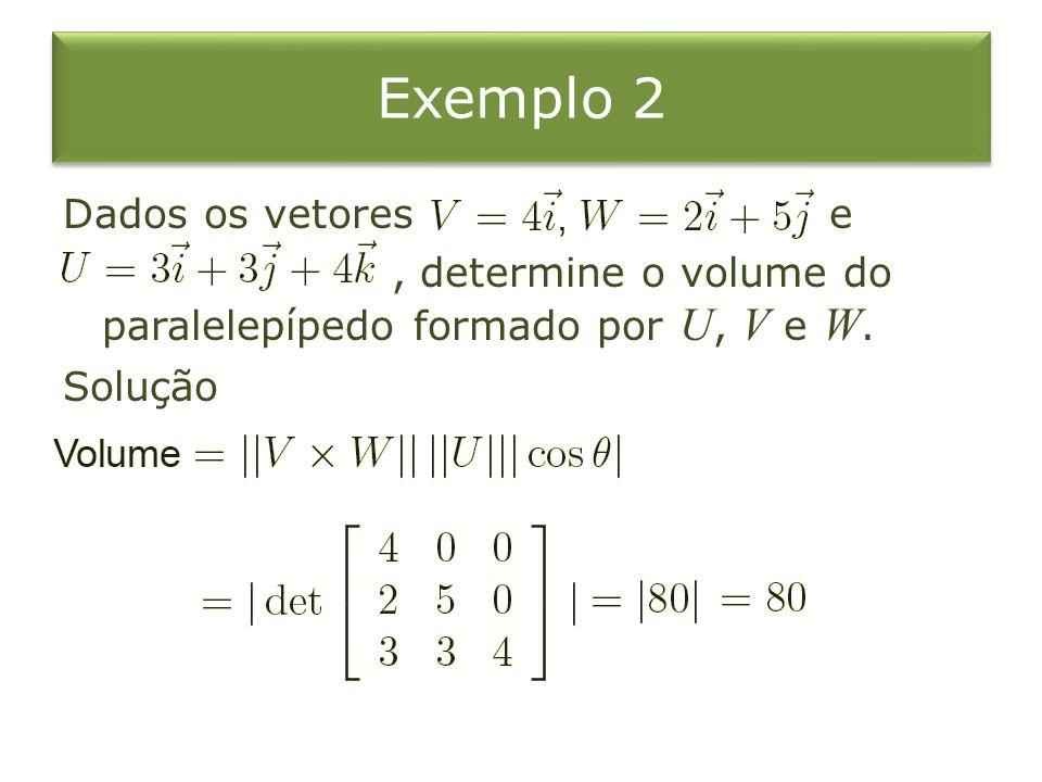 Exemplo 2 Dados os vetores e, determine o volume do paralelepípedo formado por U, V e W. Solução