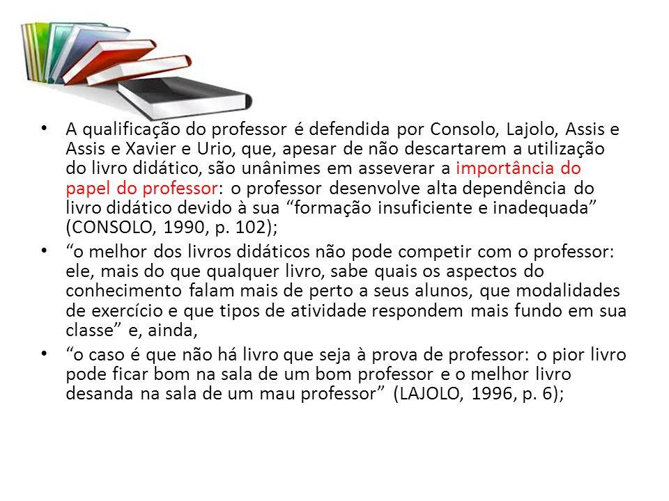 A qualificação do professor é defendida por Consolo, Lajolo, Assis e Assis e Xavier e Urio, que, apesar de não descartarem a utilização do livro didát