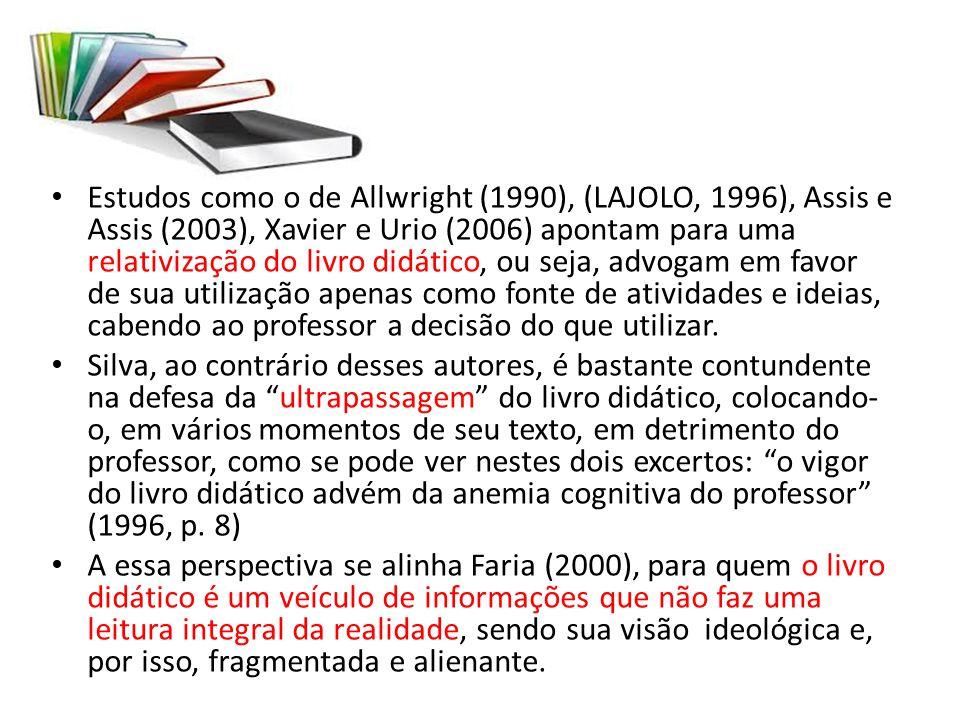 Estudos como o de Allwright (1990), (LAJOLO, 1996), Assis e Assis (2003), Xavier e Urio (2006) apontam para uma relativização do livro didático, ou se