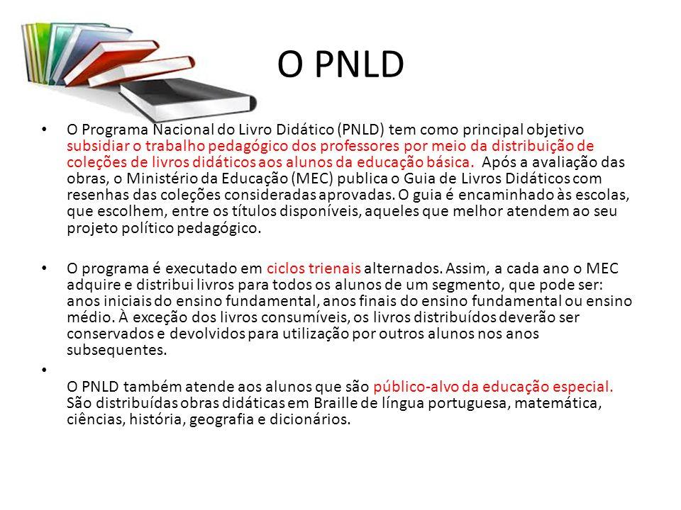 O PNLD O Programa Nacional do Livro Didático (PNLD) tem como principal objetivo subsidiar o trabalho pedagógico dos professores por meio da distribuiç
