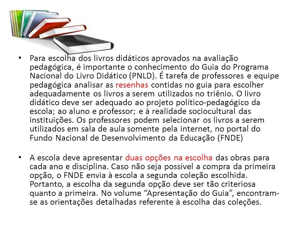 Para escolha dos livros didáticos aprovados na avaliação pedagógica, é importante o conhecimento do Guia do Programa Nacional do Livro Didático (PNLD)