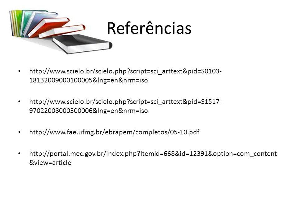 Referências http://www.scielo.br/scielo.php?script=sci_arttext&pid=S0103- 18132009000100005&lng=en&nrm=iso http://www.scielo.br/scielo.php?script=sci_