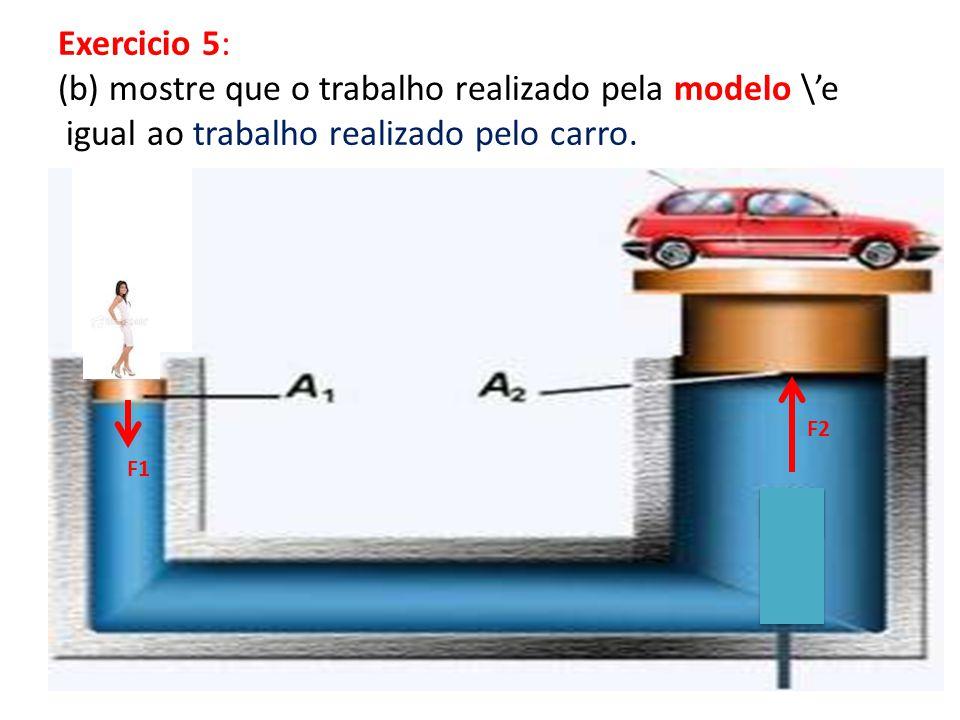 Exercicio 5: (b) mostre que o trabalho realizado pela modelo \e igual ao trabalho realizado pelo carro.