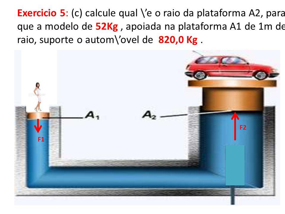 Exercicio 5: (c) calcule qual \e o raio da plataforma A2, para que a modelo de 52Kg, apoiada na plataforma A1 de 1m de raio, suporte o autom\ovel de 820,0 Kg.