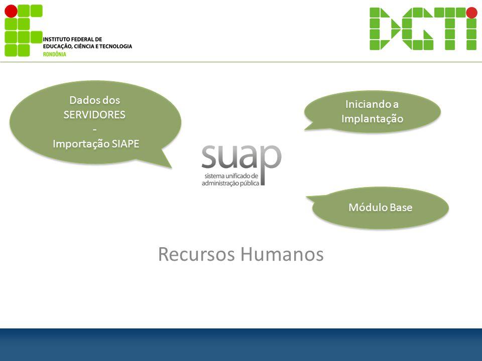 Recursos Humanos Iniciando a Implantação Módulo Base Dados dos SERVIDORES - Importação SIAPE Dados dos SERVIDORES - Importação SIAPE