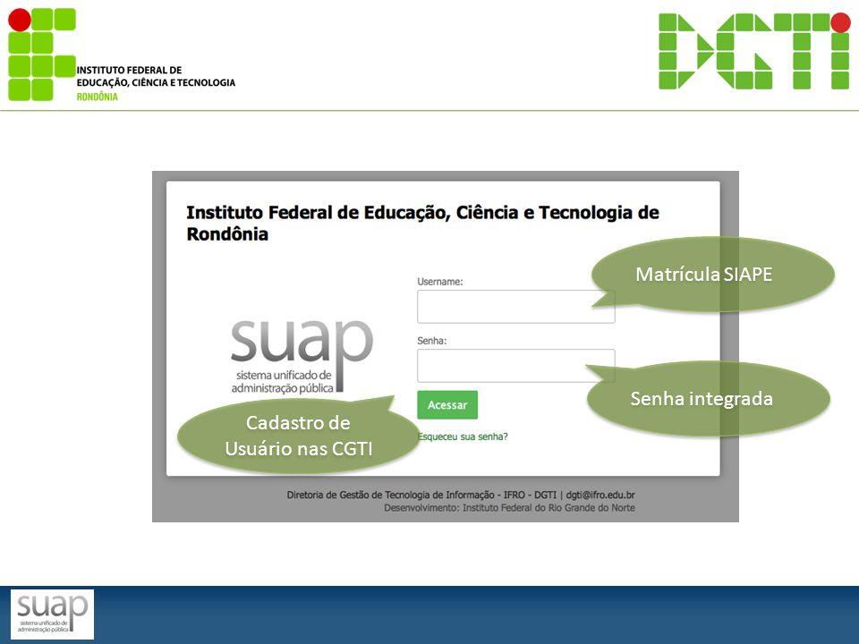 Matrícula SIAPE Senha integrada Cadastro de Usuário nas CGTI