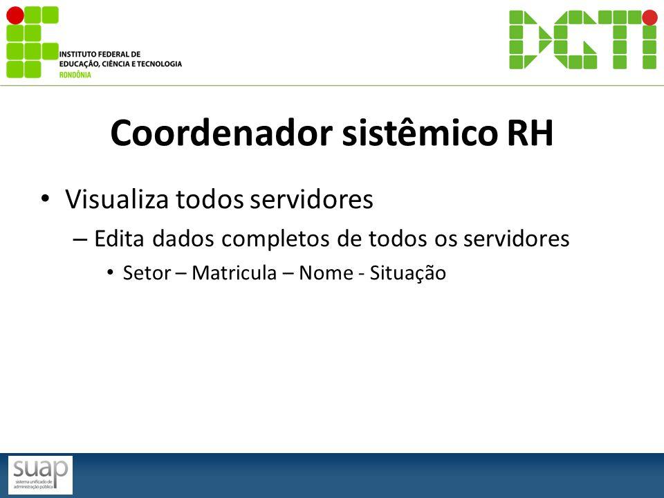 Coordenador sistêmico RH Visualiza todos servidores – Edita dados completos de todos os servidores Setor – Matricula – Nome - Situação
