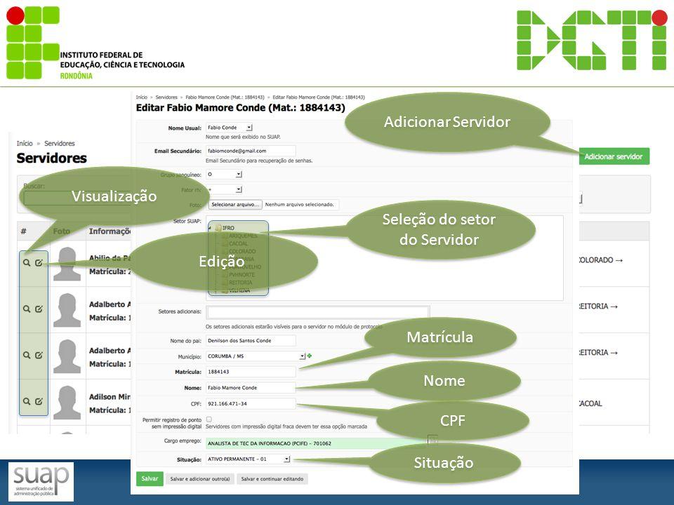Visualização Edição Adicionar Servidor Seleção do setor do Servidor Matrícula Nome CPF Situação