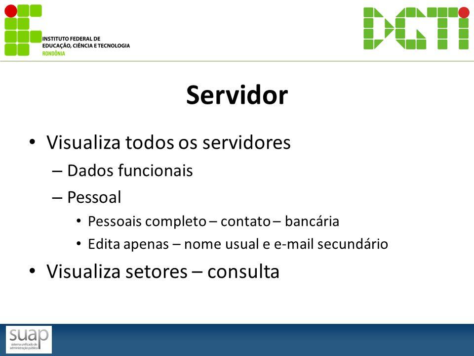 Servidor Visualiza todos os servidores – Dados funcionais – Pessoal Pessoais completo – contato – bancária Edita apenas – nome usual e e-mail secundár