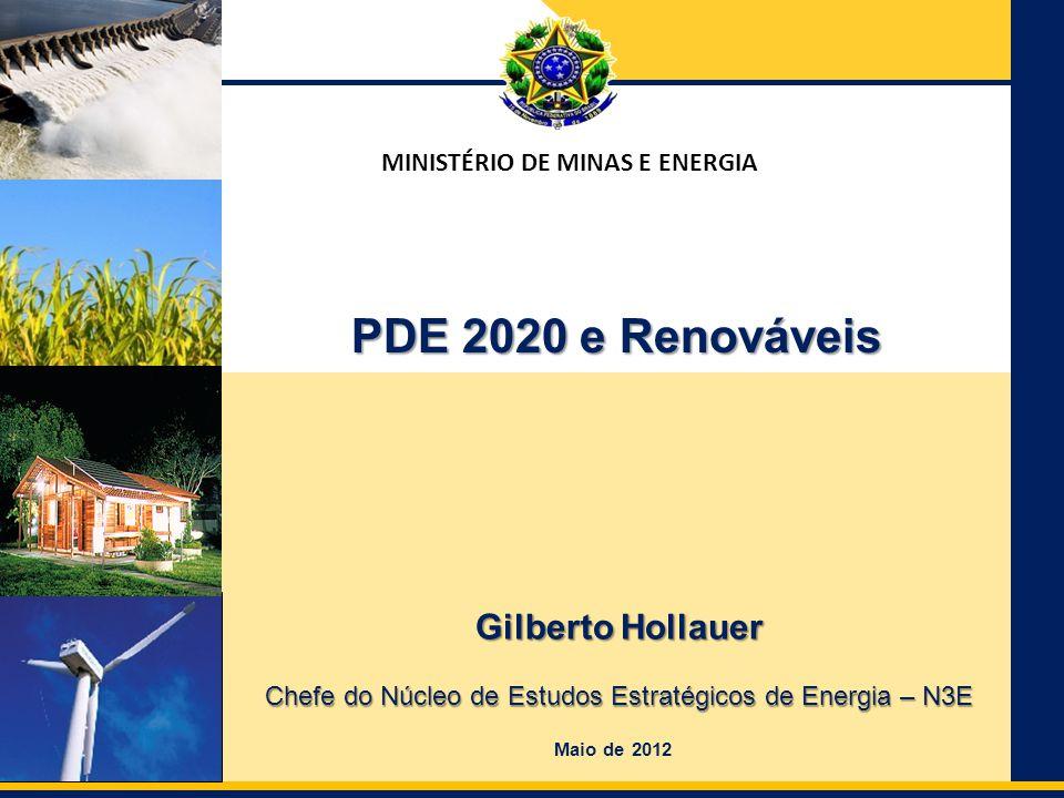 Ministério de Minas e Energia Secretaria de Planejamento e Desenvolvimento Energético MINISTÉRIO DE MINAS E ENERGIA Gilberto Hollauer Chefe do Núcleo de Estudos Estratégicos de Energia – N3E Maio de 2012 PDE 2020 e Renováveis