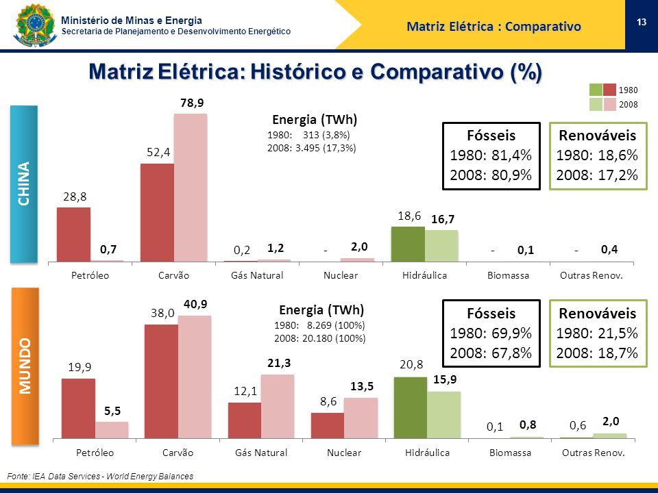 Ministério de Minas e Energia Secretaria de Planejamento e Desenvolvimento Energético Matriz Elétrica: Histórico e Comparativo (%) Fonte: IEA Data Services - World Energy Balances 13 1980 2008 CHINA MUNDO Renováveis 1980: 21,5% 2008: 18,7% Fósseis 1980: 69,9% 2008: 67,8% Renováveis 1980: 18,6% 2008: 17,2% Fósseis 1980: 81,4% 2008: 80,9% Energia (TWh) 1980: 313 (3,8%) 2008: 3.495 (17,3%) Energia (TWh) 1980: 8.269 (100%) 2008: 20.180 (100%) Matriz Elétrica : Comparativo