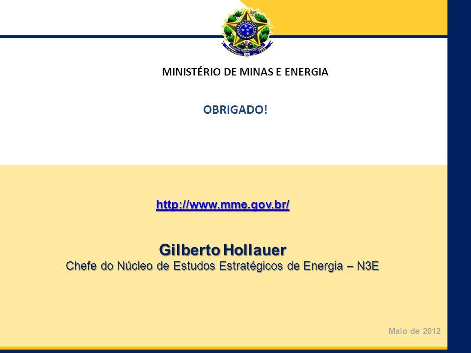 Ministério de Minas e Energia Secretaria de Planejamento e Desenvolvimento Energético MINISTÉRIO DE MINAS E ENERGIA Maio de 2012 http://www.mme.gov.br/ Gilberto Hollauer Chefe do Núcleo de Estudos Estratégicos de Energia – N3E OBRIGADO!