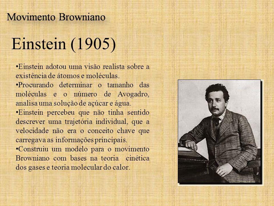 Einstein (1905) Einstein adotou uma visão realista sobre a existência de átomos e moléculas. Procurando determinar o tamanho das moléculas e o número