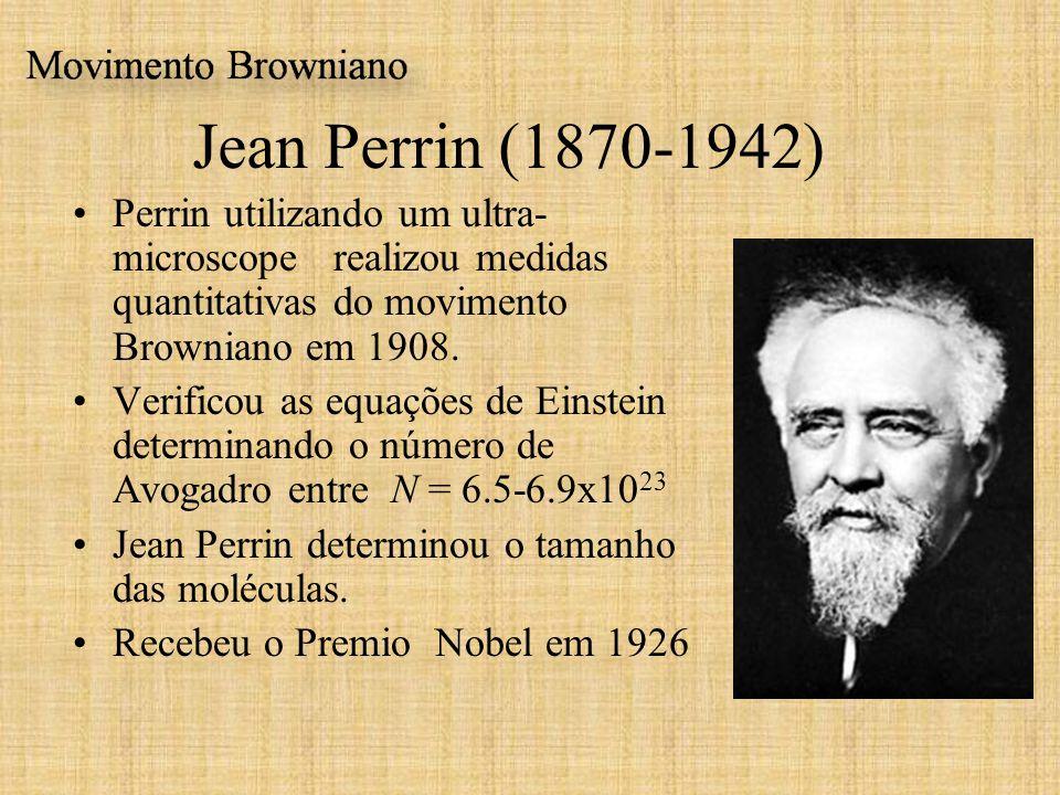 Jean Perrin (1870-1942) Perrin utilizando um ultra- microscope realizou medidas quantitativas do movimento Browniano em 1908. Verificou as equações de