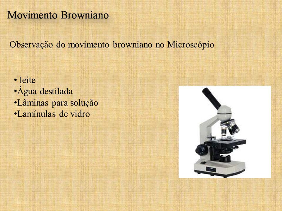 Observação do movimento browniano no Microscópio leite Água destilada Lâminas para solução Lamínulas de vidro