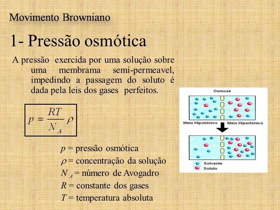 A pressão exercida por uma solução sobre uma membrama semi-permeavel, impedindo a passagem do soluto é dada pela leis dos gases perfeitos. 1- Pressão