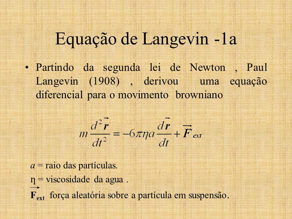 a = raio das partículas. ƞ = viscosidade da agua. F ext força aleatória sobre a partícula em suspensão. Equação de Langevin -1a Partindo da segunda le