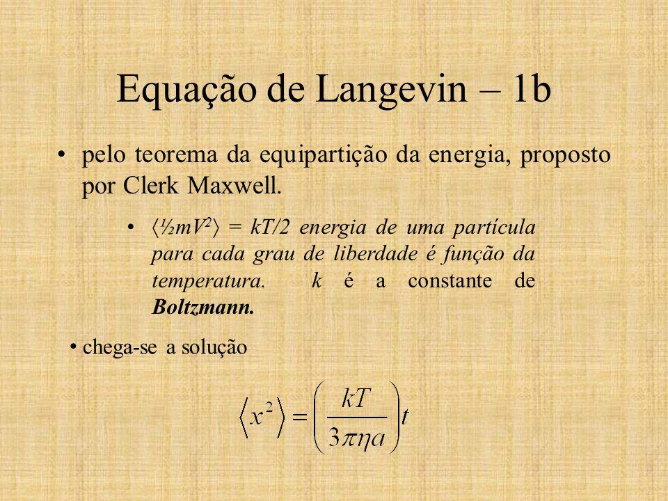 Equação de Langevin – 1b pelo teorema da equipartição da energia, proposto por Clerk Maxwell. ½mV 2 = kT/2 energia de uma partícula para cada grau de