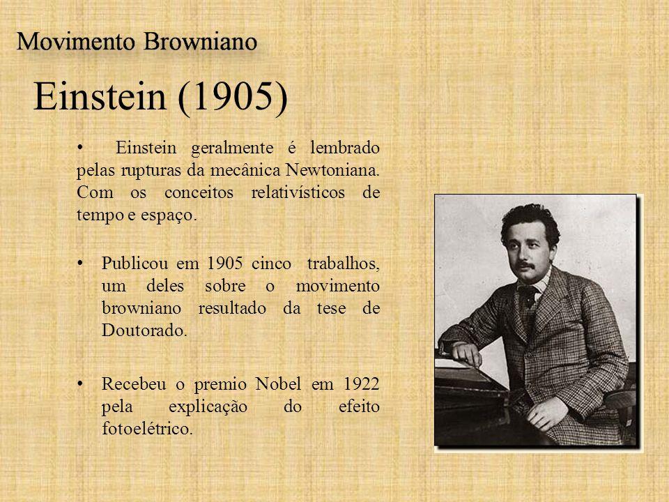 Einstein (1905) Einstein geralmente é lembrado pelas rupturas da mecânica Newtoniana. Com os conceitos relativísticos de tempo e espaço. Publicou em 1
