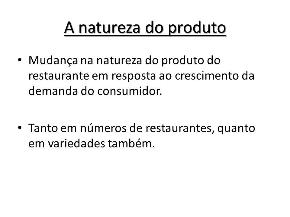 A natureza do produto Mudança na natureza do produto do restaurante em resposta ao crescimento da demanda do consumidor. Tanto em números de restauran