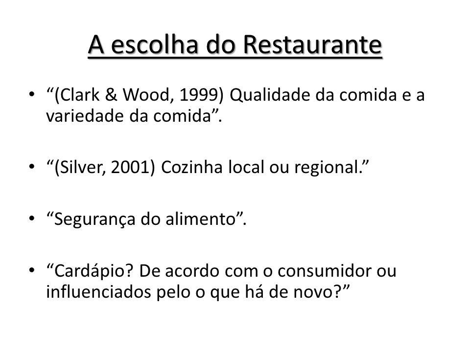 A escolha do Restaurante (Clark & Wood, 1999) Qualidade da comida e a variedade da comida. (Silver, 2001) Cozinha local ou regional. Segurança do alim