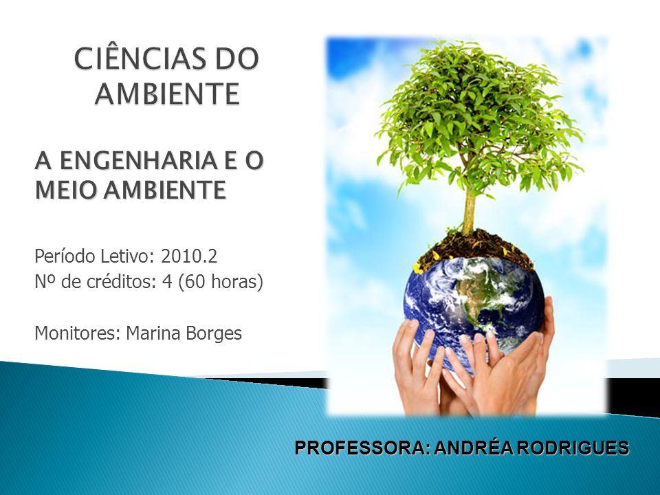 A ENGENHARIA E O MEIO AMBIENTE Período Letivo: 2010.2 Nº de créditos: 4 (60 horas) Monitores: Marina Borges PROFESSORA: ANDRÉA RODRIGUES