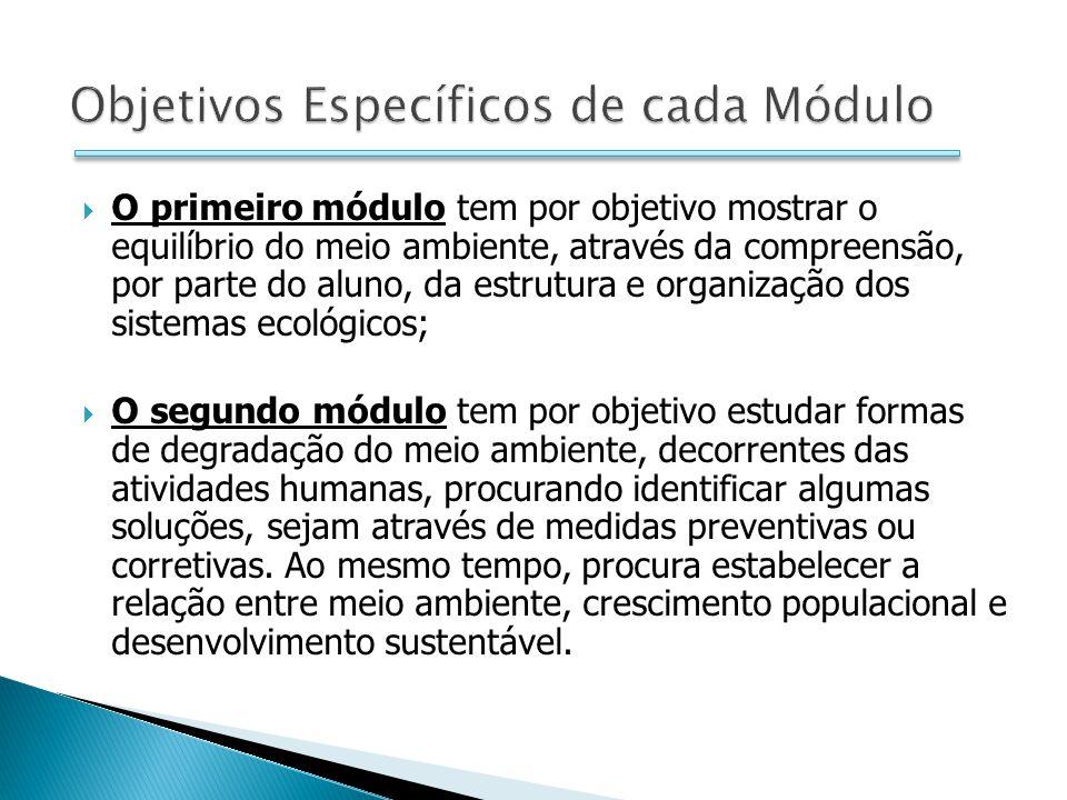 O primeiro módulo tem por objetivo mostrar o equilíbrio do meio ambiente, através da compreensão, por parte do aluno, da estrutura e organização dos s