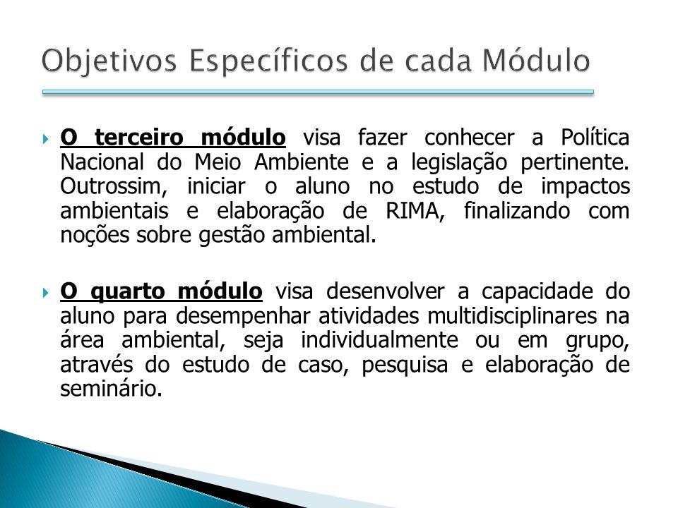 O terceiro módulo visa fazer conhecer a Política Nacional do Meio Ambiente e a legislação pertinente.