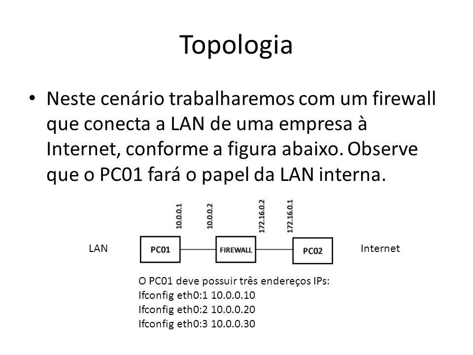 Topologia Neste cenário trabalharemos com um firewall que conecta a LAN de uma empresa à Internet, conforme a figura abaixo. Observe que o PC01 fará o