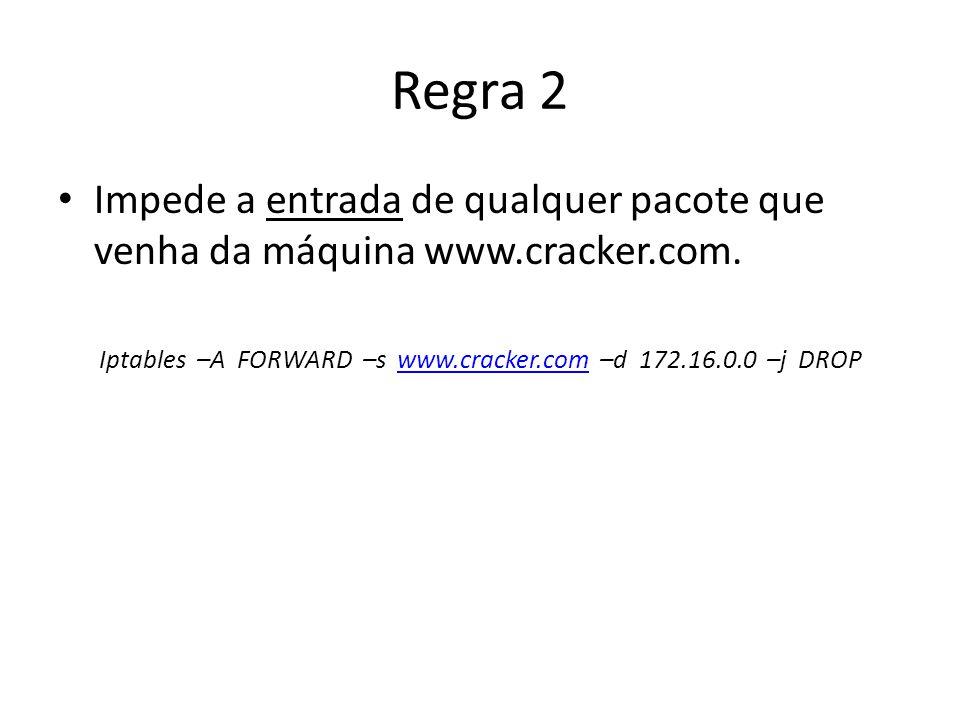 Regra 2 Impede a entrada de qualquer pacote que venha da máquina www.cracker.com. Iptables –A FORWARD –s www.cracker.com –d 172.16.0.0 –j DROPwww.crac