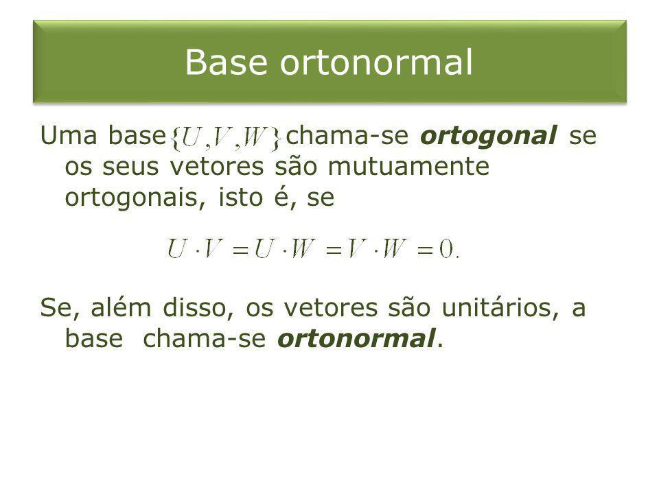 Base ortonormal Uma base chama-se ortogonal se os seus vetores são mutuamente ortogonais, isto é, se Se, além disso, os vetores são unitários, a base