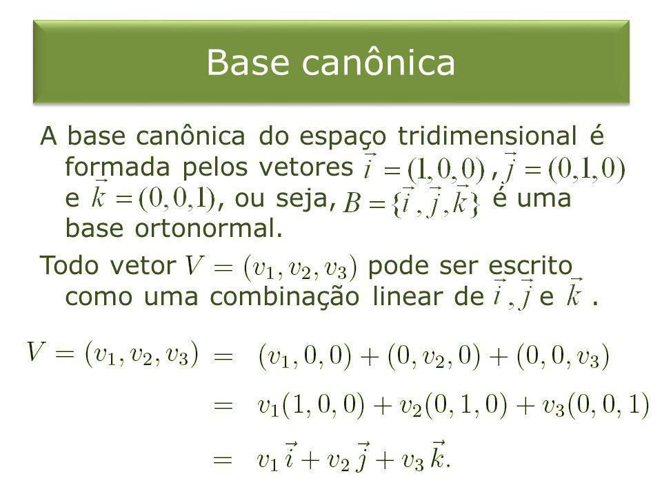 Base canônica A base canônica do espaço tridimensional é formada pelos vetores, e, ou seja, é uma base ortonormal. Todo vetor pode ser escrito como um