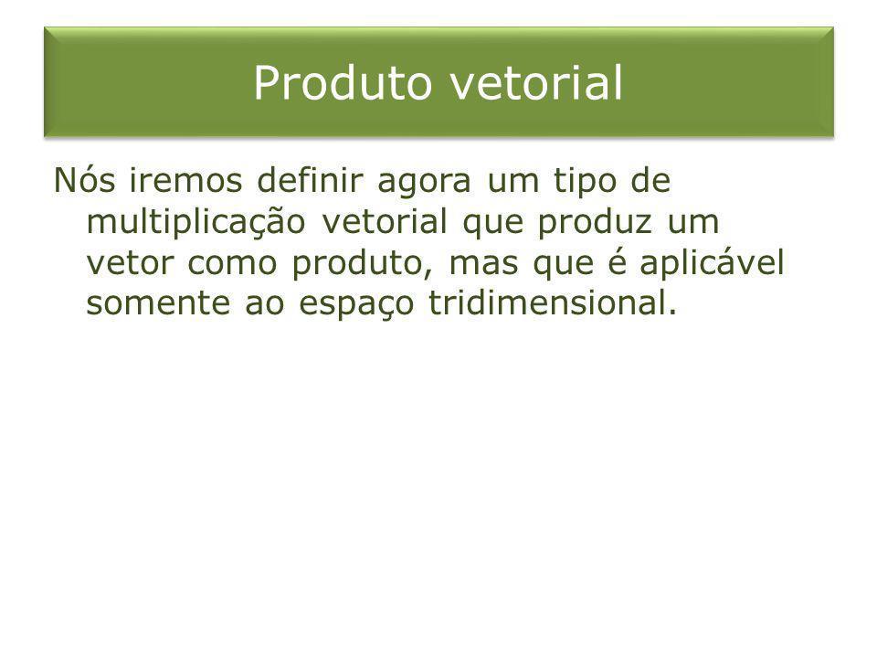 Produto vetorial Nós iremos definir agora um tipo de multiplicação vetorial que produz um vetor como produto, mas que é aplicável somente ao espaço tr