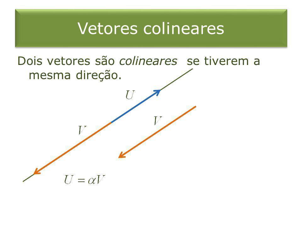 Vetores colineares Dois vetores são colineares se tiverem a mesma direção.