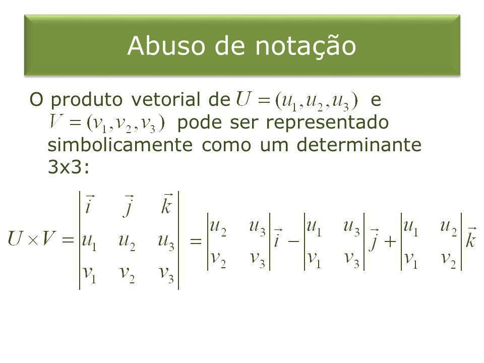 Abuso de notação O produto vetorial de e pode ser representado simbolicamente como um determinante 3x3: