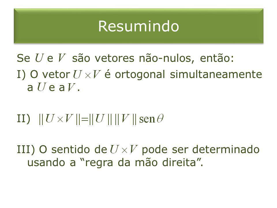 Resumindo Se U e V são vetores não-nulos, então: I) O vetor é ortogonal simultaneamente a e a. II) III) O sentido de pode ser determinado usando a reg