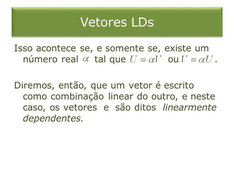 Vetores LIs Quando tomamos dois vetores nos quais não é possível escrever um vetor como combinação linear do outro, dizemos que os vetores são linearmente independentes.