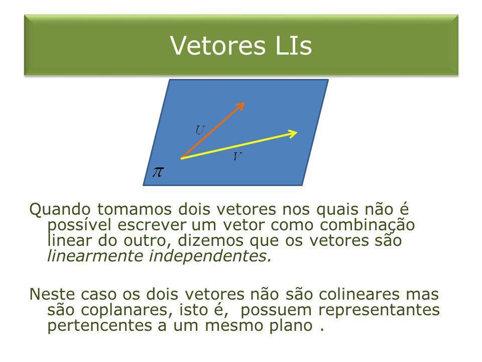 Vetores LIs Quando tomamos dois vetores nos quais não é possível escrever um vetor como combinação linear do outro, dizemos que os vetores são linearm