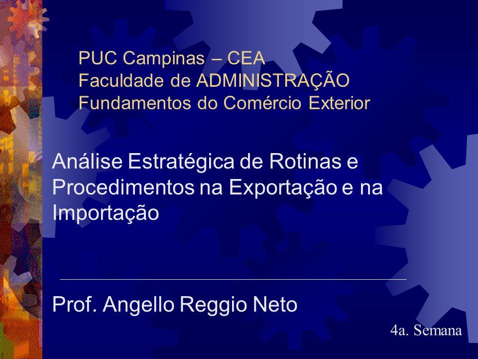 PUC Campinas – CEA Faculdade de ADMINISTRAÇÃO Fundamentos do Comércio Exterior Análise Estratégica de Rotinas e Procedimentos na Exportação e na Impor