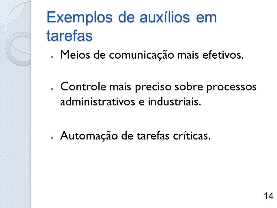 Exemplos de auxílios em tarefas Meios de comunicação mais efetivos. Controle mais preciso sobre processos administrativos e industriais. Automação de