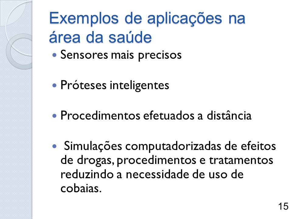 Exemplos de aplicações na área da saúde Sensores mais precisos Próteses inteligentes Procedimentos efetuados a distância Simulações computadorizadas d